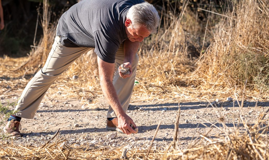 Kevin McCarthy picks up stones in the Valley of Elah, where David killed Goliath